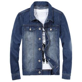 Oltre a giacca manica lunga sottile dimensione primavera autunno stile vintage denim moda per gli uomini