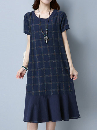 Women Short Sleeve Plaid Patchwork Vintage Dresses