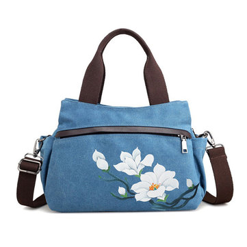 Brenice Women Lotus Canvas Handbag Chinese Crossbody Bag