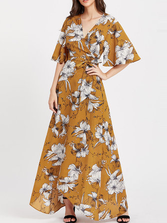 Plus Size Sexy Women V-Neck Floral Print Maxi Dress