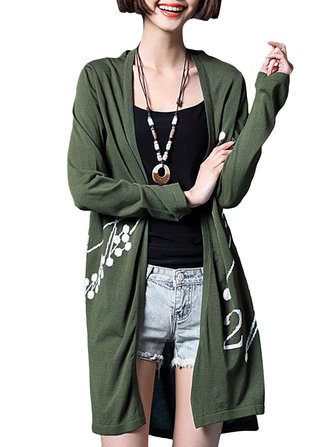 Casual Women Printing Long Sleeve Side Split Knitted Cardigan