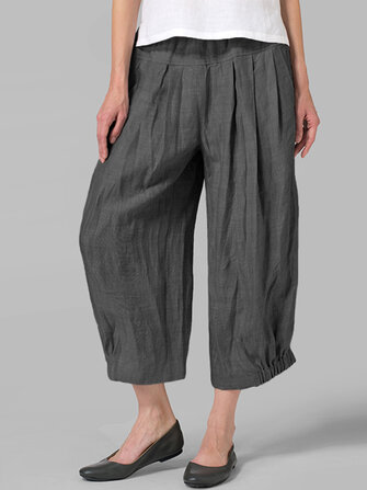 Women High Waist Loose Casual Solid Wide Leg Pants