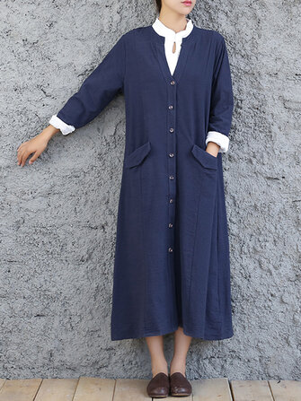 Vintage Women Pockets Long Sleeve Long Coats