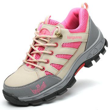 Женская безопасность Steel Toe Anti-Slip Shoes На открытом воздухе Рабочая конструкция Обувь для походов