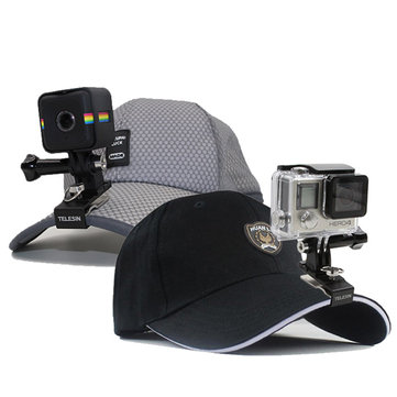 TELESIN Aluminum Backpack Clip Cap Hat Clip Stand with Mount for GoPro Hero/Session SJCAM Yi Camera
