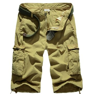 Summer Mens Cotton Beach Shorts Big Pockets Washed Solid Color Cargo Shorts