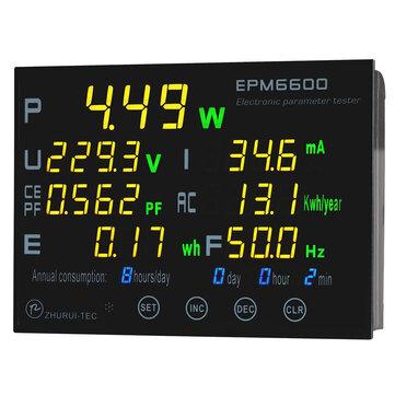 EPM6600 10A 2000W Digital Electric AC Energy Meter Power Meter Frequency KWH Meter Measurement