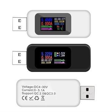 DANIU Numérique 10 en 1 Colorful LCD Affichage USB Testeur Tension Testeur de courant USB Chargeur Testeur Compteur de puissance Compteur Ampèremètre Moniteur numérique Indicateur de puissance de coupure
