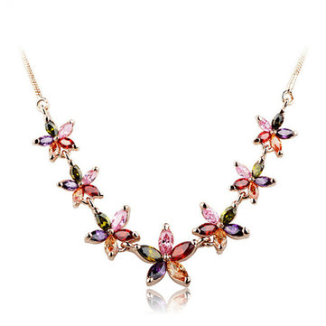 Colorful Zircon Flower Delicate Necklace Fashion Jewelry for