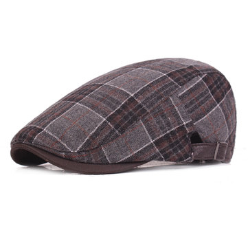 Mens Woolen Grid Warm Beret Hat Adjustable Plaid Newsboy Cabbie Golf Gentleman Cap