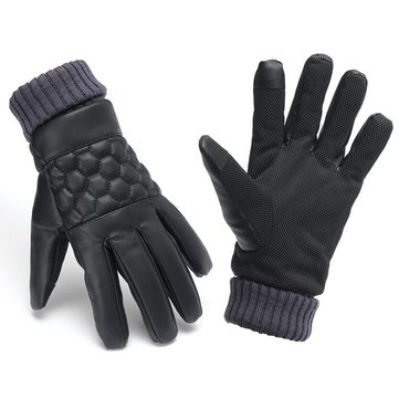Men Thermal Leather Touch Screen Gloves Winter Outdoor Sports Warm Motorcycle Gloves