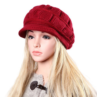 Women Ladies Woolen Knitted Crochet Baseball Cap Knitting Faux Rabbit Fur Elastic Baggy Hat