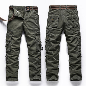 Mens Casual Outdooors Cargo Pants Military Multi Pocket Cotton Long Pants