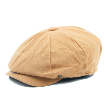 Unisex Mens Vintage Cotton Beret Hats Casual Solid Color Painter Forward Caps