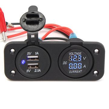 DC12-24V Waterproof Dustproof Dual Usb Port + LED Digital Volt Meterr + Ammeter