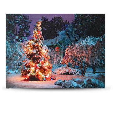 40 x 30cm Batarya İşletilen LED Noel Karlı Ev Ön Ağaç Xmas Canvas Print Duvar Resmi