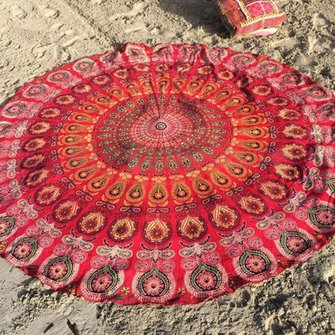 Mandala Round Yoga Mat Boho Decor Beach Printing Throw Towel Shawl Wall Hanging Tapestry