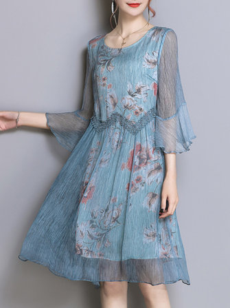 Spring Floral Print Bell Sleeve Dress