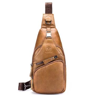 Bullcaptain Genuine Leather Retro Chest Bag Outdoor Leisure Daypack Crossbody Bag for Men