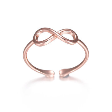 Classic Infinity Knot Ring Rose Gold Silver Ring Simple Casual Wear Fashion Open Ring for Women