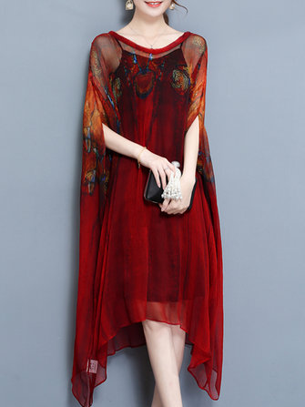 Elegant Two Piece Batwing Sleeve Printed Irregular Hem Dress for Women