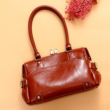 Women Genuine Leather Cowhide Vintage Designer Handbag Shoulder Bag