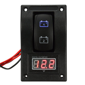 12V Marine Boat Dual LED Battery Test Panel Rocker Switch LED Voltage Voltmeter