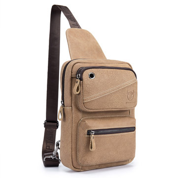 Bullcaptain Men Nubuck Leather Chest Pack Casual Винтаж Crossbody Сумка для 10,5-дюймового Ipad Pro