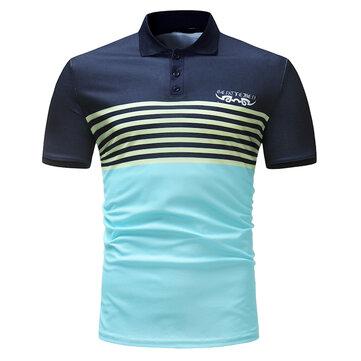 MänsCasualBomullAndningsbarKortärmadGolfskjorta Mode Stripe Toppar