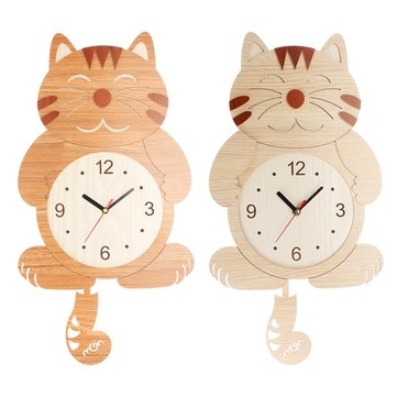 Wooden Wall Clock Cat Dog Swinging Tail Pendulum Battery Operated Room Creative Decor