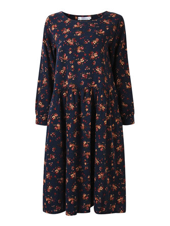 Women Vintage Printing Flower Long Sleeve Loose Dress