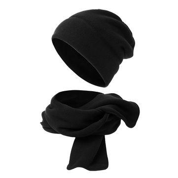 Men Women Polar Fleece Two-Piece Hat Scarf Set