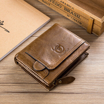 Bullcaptain Cowhide Zipper Wallet Coin Bag Vintage Short Wallet for Men
