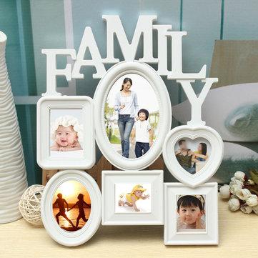 Cornici per la famiglia Cornice per foto Cornice per appendere a parete Display Decorazione per casa Plastica in bianco