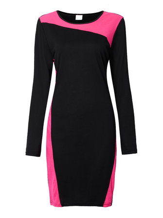 Vintage Women Long Sleeve Color Patchwork Bodycon Pencil Dress