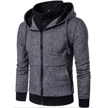 Mens Casual False Two Pieces Sport Hoodies Sweatshirts