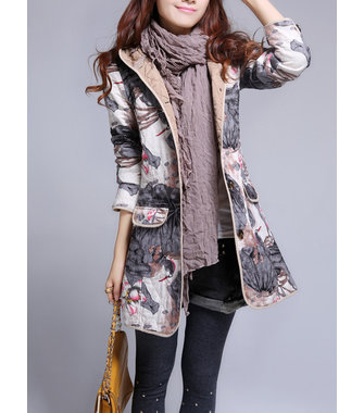 Women Hooded Long Sleeve Printing Quilted Thick Coat