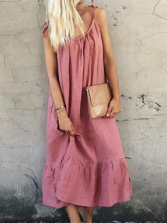 Casual Loose Spaghetti Straps Solid Color Ruffles Hem Long Dress