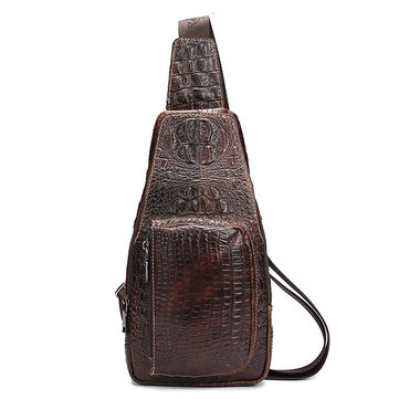 Genuine Leather Chest Bag Crocodile Pattern Crossbody Bag Sling Bag For Men