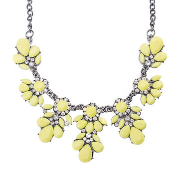 Yellow Resin Flower Stylish Collar Necklace Drop Shape Decor Crystal Summer New Women Jewelry