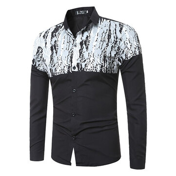 Slim Fit Business Casual Button Up Printing Patchwork Long Sleeve Fall Shirt for Men