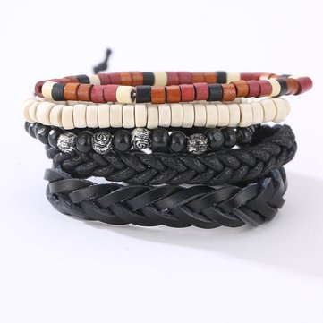 Vintage Leather Bracelet Weave Braided Multilayer Adjustable