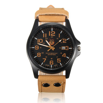 Men Casual PU Leather Band Date