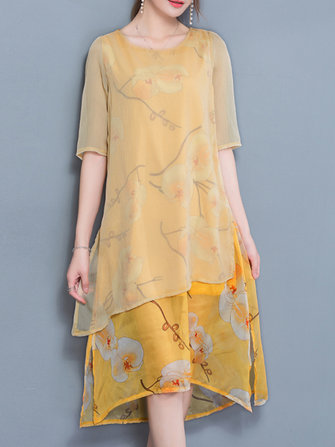 Elegant Women Floral Print Half Sleeve Layered Dress