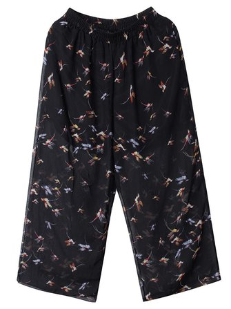 Women Loose Animal Printed Stretch Waist Chiffon Palazzo Pants