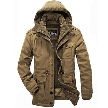 Mens Two Pieces Winter Outdoor Casual Thick Warm Big Size Hooded Jacket