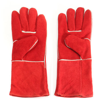 Woodburner Gloves Long Lined Welders Gauntlets Fire High Temperature Stove Protection Welding Gloves