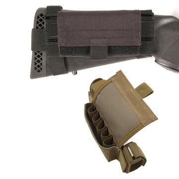 Ambidextrous 5 Round Tactical Buttstock Shotgun Shell Bullet Pouch Ammo Carrier Gun Accessories
