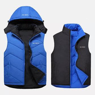 Mens Reversible Stand Collar Jacket Hooded Detachable Sleeveless Casual Sports Down Cotton Waistcoat