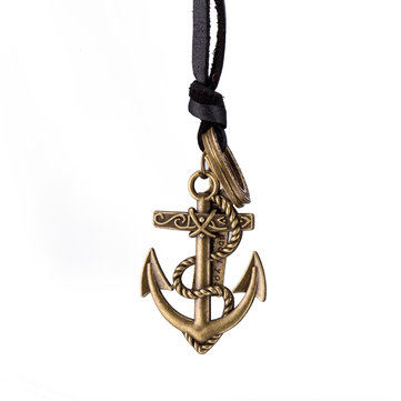 Punk Vintage Anchor Zinc Alloy Genuine Leather Necklace
